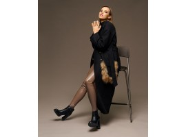 """Пальто """"Chic fashion"""" с меховыми карманами енота черное"""